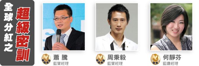 蕭騰 藍寶經理、周秉毅 藍寶經理、何靜芬 藍鑽經理
